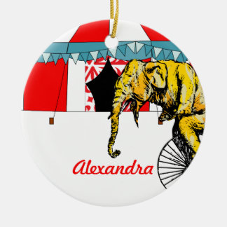 Personalized Circus Elephant and Circus Tent Ceramic Ornament