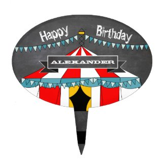 Personalized Circus Party Cake Topper