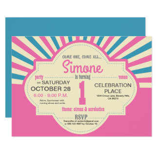 Personalized, Circus Themed, First Birthday, Pink Card