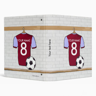 Personalized Claret Blue Football Soccer Jersey 3 Ring Binder