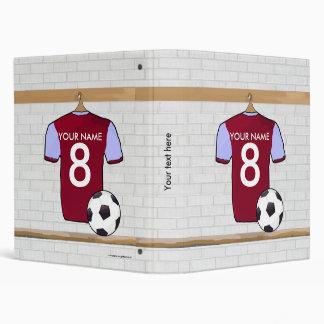 Personalized Claret Blue Football Soccer Jersey Vinyl Binder