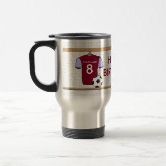 Personalized Claret Blue Football Soccer Jersey Travel Mug