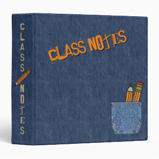 Personalized Class Notes - Blue Jeans and Pencils Binder