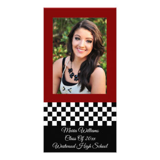 Personalized Class of 20xx Checkerboard Photo Card