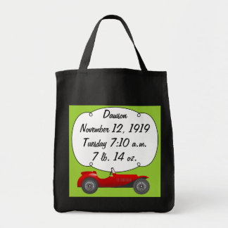 Personalized Classic Car Baby Boy Stats Tote Bag