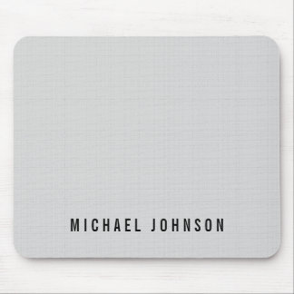 Personalized Classic Faux Linen Silver Grey Mouse Pad