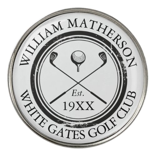Personalized Classic Golf Club Name Golf Ball Marker