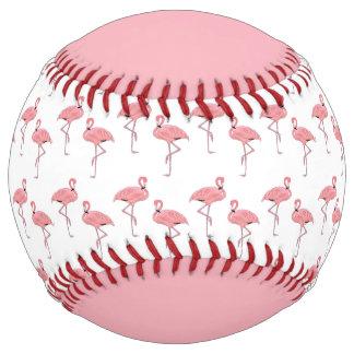 Personalized Classic Pink Flamingo Pattern Softball