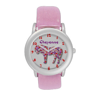 Personalized Classic Pink Heart Horse Pony Watch