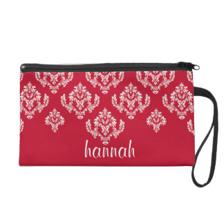 Personalized Classic Red And White Damask Wristlet