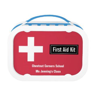 Personalized Classroom First Aid Kit Emergency Red Lunch Box