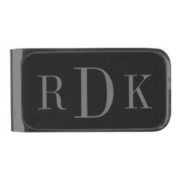 Personalized classy 3 letter monogram money clip