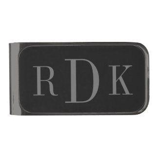 Personalized classy 3 letter monogram money clip