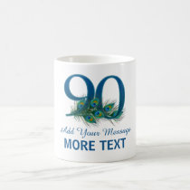 Personalized classy 90th birthday number 90 mug