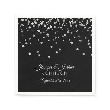 Wedding Themed Personalized Classy Black Silver Confetti Wedding Paper Napkin