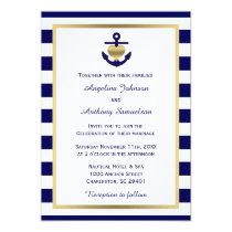 Personalized Classy Nautical Gold Navy Wedding Invitation