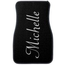 Personalized Classy Script Black White Custom Car Floor Mat