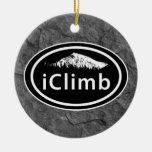 "Personalized Climbing ""iClimb"" Oval Mountain Tag Ceramic Ornament"