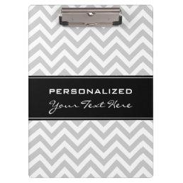 Personalized clipboard | Cool grey chevron pattern