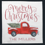 "Personalized Cloth Christmas Napkins<br><div class=""desc"">When you are preparing to host a holiday gathering, cocktail party or dinner, our Christmas napkins will add a fun and festive touch to your table. Design your own napkins to make your parties truly unique. Our rustic vintage red truck design will add the perfect touch to your holiday table....</div>"