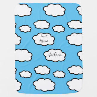 Personalized Clouds Print Baby Blanket