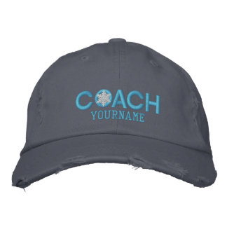 Personalized Coach Snowflake Baby Blue Embroidered Baseball Hat