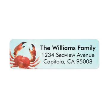 Beach Themed Personalized Coastal Crab Label