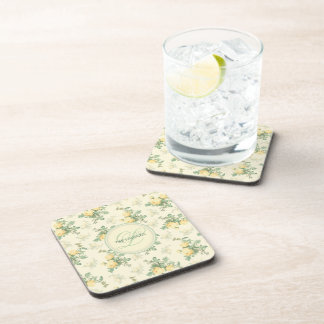 Personalized coasters yellow rose floral monogram drink coaster