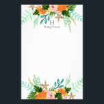 "Personalized | Coastline Floral Stationery<br><div class=""desc"">Hand painted tropical floral design in rich oranges,  greens and pinks by Shelby Allison.</div>"
