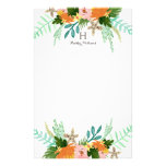 Personalized | Coastline Floral Stationery<br><div class='desc'>Hand painted tropical floral design in rich oranges,  greens and pinks by Shelby Allison.</div>