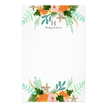 Beach Themed Personalized | Coastline Floral Stationery