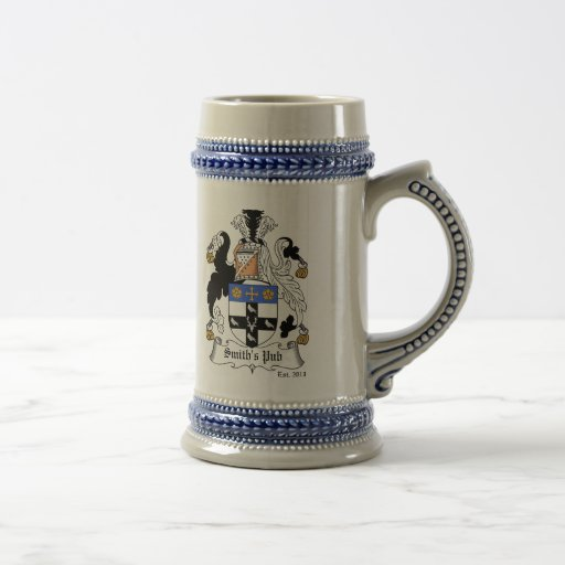 Personalized Coat of Arms Stein - Light Blue Mugs