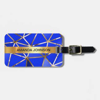 Personalized Cobalt Blue Golden Metallic Luggage Luggage Tag