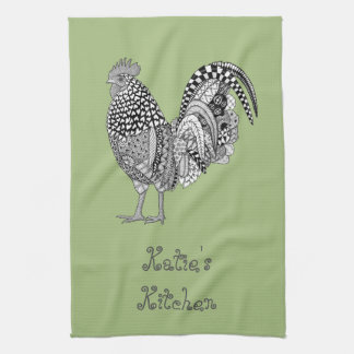 Personalized Cock-a-doodle Rooster Kitchen Towel