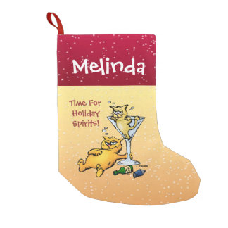 Personalized Cocktails and Kittens Holiday Spirits Small Christmas Stocking