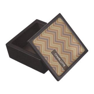 Personalized Coffee Chevrons Jewelry/Trinket Box Premium Jewelry Box