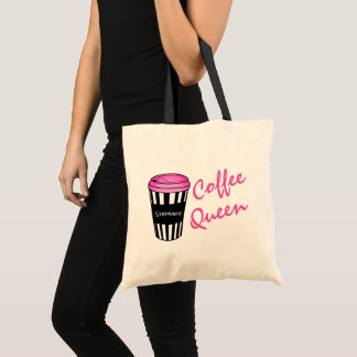Personalized Coffee Queen Striped Cup Tote