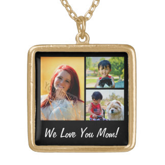 Personalized Collage 3 Photo Mother's Day Gold Plated Necklace