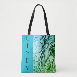 Personalized Color Block Abstract Ocean Tote Bag