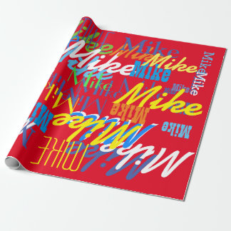 personalized color boys name pattern wrapping paper