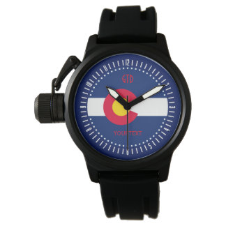 Personalized Colorado State Flag Monogram Design Watch