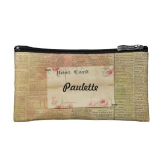 Personalized Colored Old NewsPaper Postcard Flower Makeup Bag