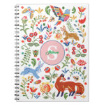 Personalized Colorful Animal Folk Art Floral Cute Notebook