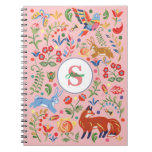 Personalized Colorful Animal Folk Art Floral Pink Notebook