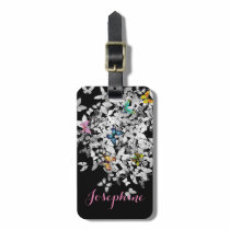 personalized colorful butterflies luggage tag