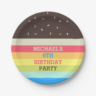 Personalized Colorful Cake Birthday Party Plates