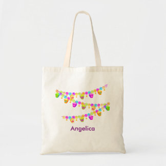 Personalized Colorful Cupcake Bunting Banner Tote Bag
