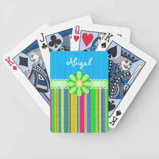 Personalized Colorful Cute Blue with Green Flower Bicycle Playing Cards