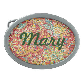 Personalized Colorful Floral Belt Buckle