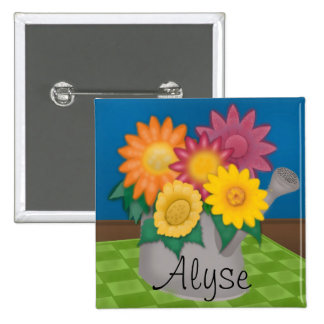 Personalized Colorful Flower Watering Can Button